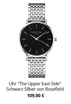 Uhr mit Metallarmband in silber Schwarz