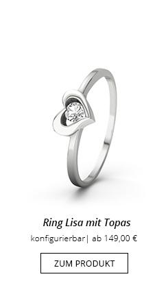 Ring mit Topas in Herz