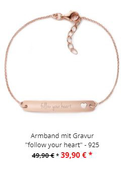Gravur Armband Rosegold Follow your Heart