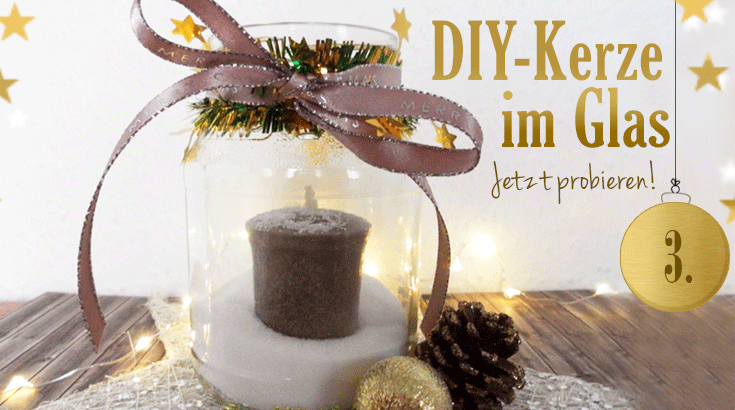 adventskalender kerze im glitzernden schnee diy deko. Black Bedroom Furniture Sets. Home Design Ideas